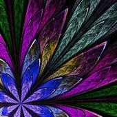 Многоцветная Фрактальный цветок на черном фоне. компьютер генерировать — Стоковое фото