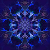 Beautiful fractal flower in blue and black. — Stock Photo