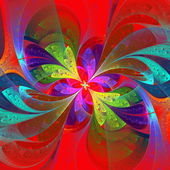 Multicolor beautiful fractal flower on orange background. — Stock Photo