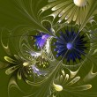 Foto Stock: Beautiful fractal flower in green and blue.