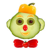 Healthy eating. Funny face made of vegetables and fruits with op — Stock Photo