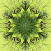 Beautiful fractal flower in brown, green and gray. Computer gene — Stock Photo