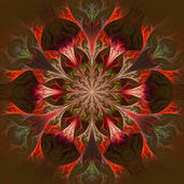 Beautiful fractal flower in claret and red. — Stock Photo