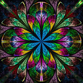 Multicolor beautiful fractal in stained glass window style. — Stock Photo