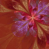 Beautiful fractal flower in beige, violet and red. — Stock Photo