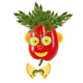 Smiling man portrait made of vegetables and fruits — Foto Stock