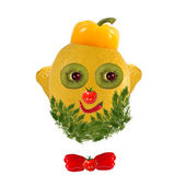Healthy eating. Funny face made of vegetables and fruits — Zdjęcie stockowe