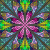 Multicolor beautiful fractal in stained glass window style. Comp — Stock Photo