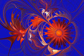 Flower background. Orange and blue palette. Fractal design. Comp — Stock Photo