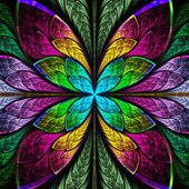 Symmetrical multicolor fractal flower in stained glass style. — Stock Photo
