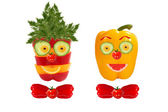 Smiling men portrait made of vegetables and fruits — Stock Photo