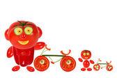 Dos tomates graciosos littl parado cerca de una bicicleta — Foto de Stock