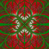 Symmetrical pattern of the leaves in green and red. — Stok fotoğraf