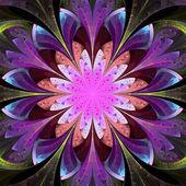 Symmetrical pattern in stained-glass window style. Blue, purple — Stock Photo