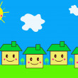 Family houses cartoon style — Stockfoto