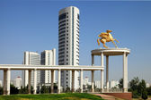 Beautiful monument and modern buildings as background — Stok fotoğraf