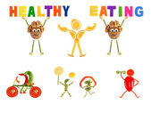 Healthy eating. Little funny people made of vegetables and fruit — Stock Photo