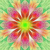 Beautiful fractal flower in green and yellow. Computer generated — Photo