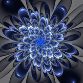Beautiful lush blue flower on gray background. Computer generate — Stock Photo