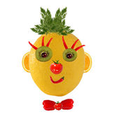 Healthy eating. Funny face made of vegetables and fruits — Stock Photo