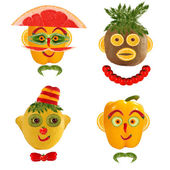 A creative set of food concepts. A few  funny portraits from veg — Stock Photo