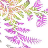 Asymmetrical pattern of the leaves in purple and green. On white — Stock Photo