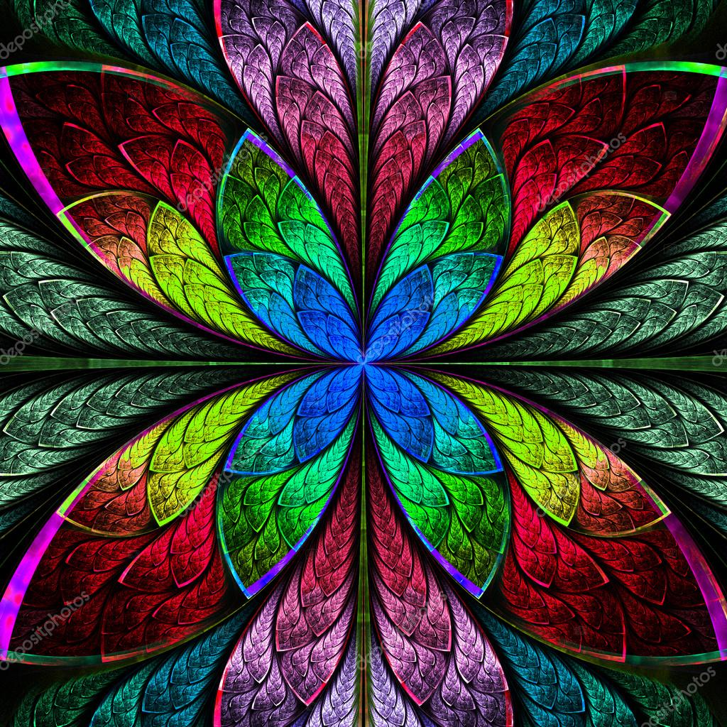 Flor sim trica fractal multicolor estilo vidrieras co - Vidrieras de colores ...