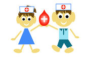Blood Donation Concept Present By Red Blood Drop and Whit — Stock Photo