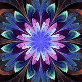 Symmetrical pattern in stained-glass window style. Darkblue, blu — Stock Photo