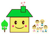Happy family on a threshold of their house — Stock Photo