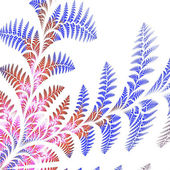 Asymmetrical pattern of the leaves in blue and brown. On white b — Stock Photo