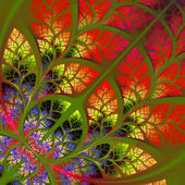 Fabulous fractal pattern in red. Collection - tree foliage. Comp — Stock Photo