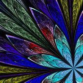 Multicolor fractal flower on black background. Computer generate — Stok fotoğraf