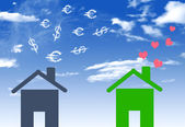 Illustrations economical houses and  house with lots of money em — Stock Photo