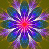 Beautiful fractal flower in pink, blue and brown. Computer gener — Stock Photo