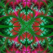 Symmetrical fractal pattern. Collection - tree foliage. Green an — Stock Photo