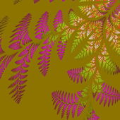 Asymmetrical pattern of the leaves in purple and green. On beige — Stock Photo
