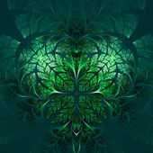 Fabulous fractal pattern in green. Collectiont - tree foliage. — Stockfoto