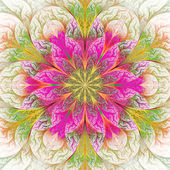 Beautiful fractal flower in pink and green. Computer generated g — Stock Photo