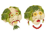Creative food. Portrait two old man made of vegetables and fru — Stock Photo