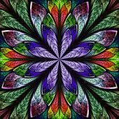 Multicolor beautiful fractal in stained glass window style. — Foto de Stock