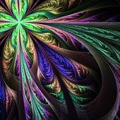 Diagonal symmetric multicolored fractal tracery. — Stock Photo