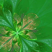 Beautiful fractal flower in green and beige. Computer generated  — Stock Photo