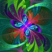 Multicolor beautiful fractal flower on green background. Compute — Stock Photo