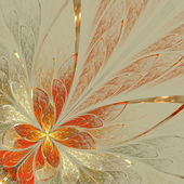 Beautiful fractal flower in yellow, gray and red. Computer gener — Stock Photo