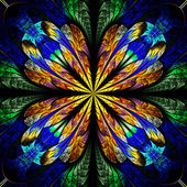 Symmetrical pattern in stained-glass window style. Blue and brow — Stock Photo