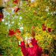 Happy fall woman — Stock Photo