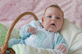 Baby laying in the basket — Stock Photo