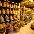 Old traditional storage inside a Greek monastery at Meteora — Stock Photo