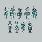 Pixel art robots — Stock Vector
